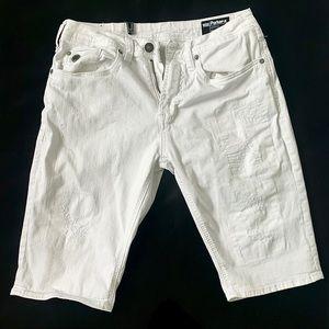 Distressed White Bermuda Shorts